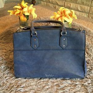 Nicole Miller Blue Leather Purse
